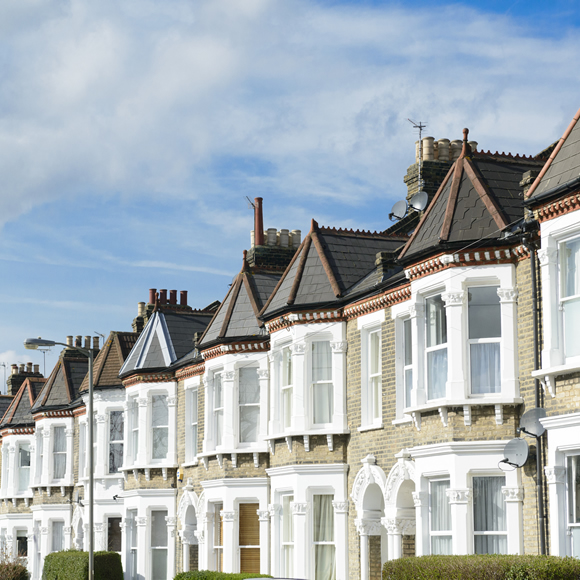 A row of victorian-style houses, typical of those let-out by property owners - Redwood Business Insurance Services.